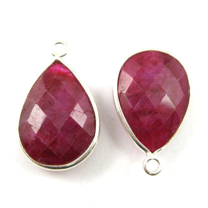Bezel Gem Pendant - Sterling Silver - 13x18mm Faceted Pear - Ruby Dyed - July Birthstone - Sold per 2 pieces