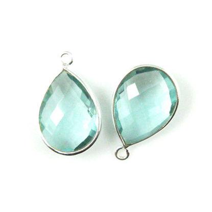 Bezel Gem Pendant - Sterling Silver - 13x18mm Faceted Pear - Aqua Quartz - Sold per 2 pieces