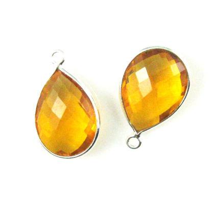 Bezel Gem Pendant - Sterling Silver - 13x18mm Faceted Pear - Citrine Quartz  Sold per 2 pieces