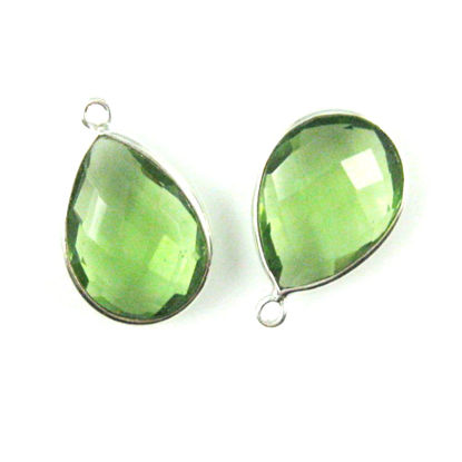 Bezel Gem Pendant-Sterling Silver-13x18mm Faceted Pear-Green Amethyst Quartz  Sold per 2 pieces
