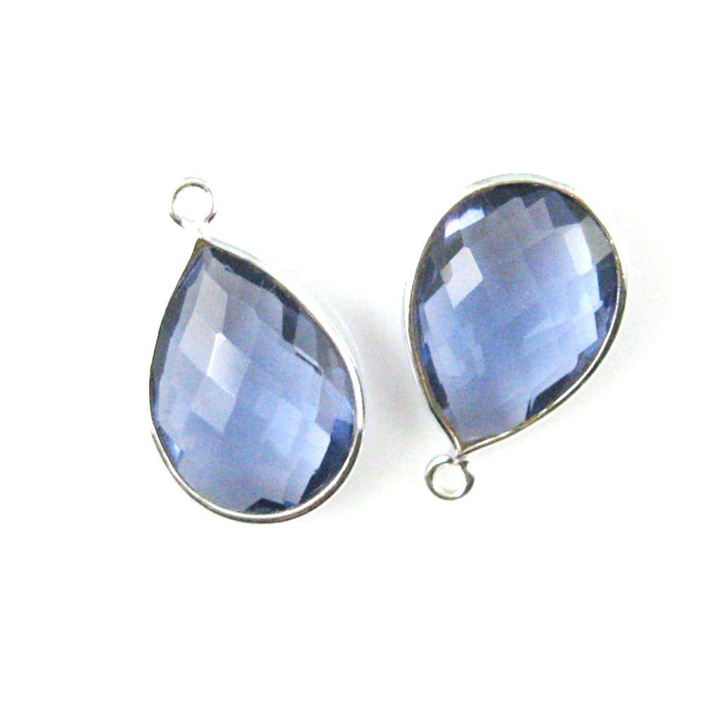 Natural Pink Chalcedony Pear Bezel Beads Semi Precious Gemstone Pear Pendant Bezel Gemstone Connectors 925 sterling silver bezel