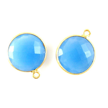 Bezel Gemstone Pendant - 14mm Faceted Coin Shape - Blue Chalcedony (Sold per 2 pieces)