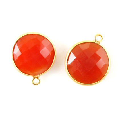 Bezel Gemstone Pendant - 14mm Faceted Coin Shape - Carnelian (Sold per 2 pieces)