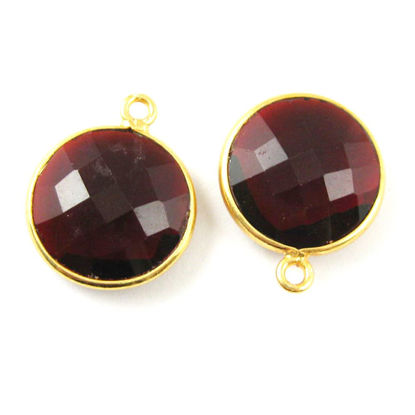Bezel Gemstone Pendant -22K Gold Plated Vermeil - Gold Plated Bezel Gemstone - 14mm Faceted Coin Shape - Garnet Quartz- Januray Birthstone (Sold per 2 pieces)