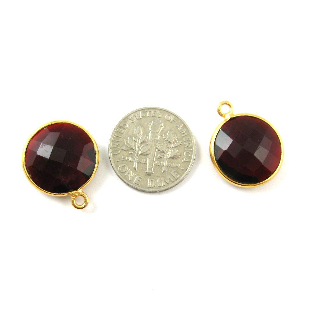 Bezel Gemstone Pendant -22K Gold Plated Vermeil - Gold Plated Bezel Gemstone - 14mm Faceted Coin Shape - Garnet Quartz- Januray Birthstone (Sold per 2 pieces)
