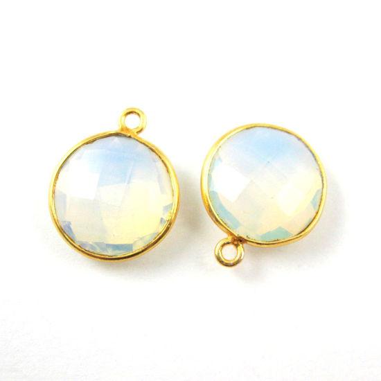 Bezel Gemstone Pendant -22K Gold Plated Vermeil - Gold Plated Bezel Gemstone - 14mm Faceted Coin Shape - Opalite Quartz- October Birthstone (Sold per 2 pieces)