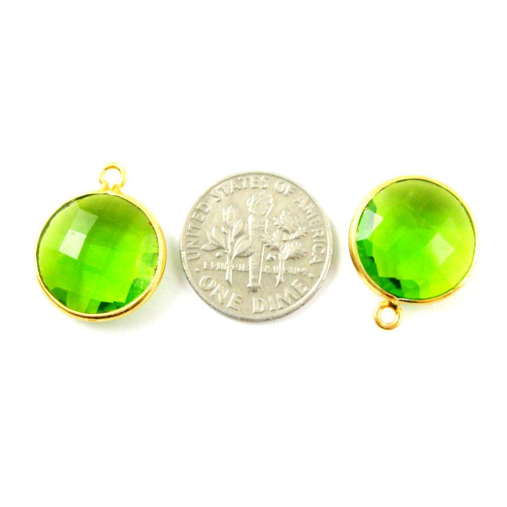 Bezel Gemstone Pendant -22K Gold Plated Vermeil - Gold Plated Bezel Gemstone - 14mm Faceted Coin Shape - Peridot Quartz- August Birthstone (Sold per 2 pieces)