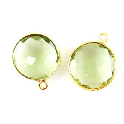 Bezel Gemstone Pendant - 14mm Faceted Coin Shape - Green Amethyst Quartz (Sold per 2 pieces)