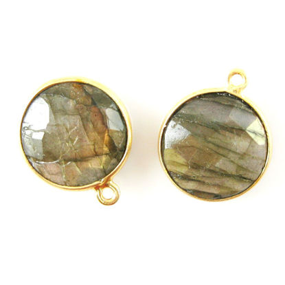 Bezel Gemstone Pendant - 14mm Faceted Coin Shape - Labradorite (Sold per 2 pieces)