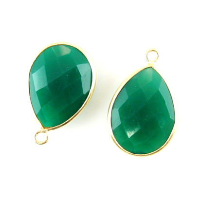 Bezel Gemstone Pendant - 13x18mm Faceted Pear Shape - Green Onyx  (Sold per 2 pieces)