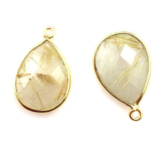 Bezel Gemstone Pendant - 13x18mm Faceted Pear Shape - Gold Rutilated Quartz (Sold per 2 pieces)