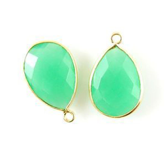 Bezel Gemstone Pendant - 13x18mm Faceted Pear Shape - Prehnite Chalcedony (Sold per 2 pieces)