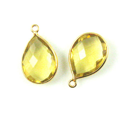Bezel Gemstone Pendant - 13x18mm Faceted Pear Shape - Lemon Quartz (Sold per 2 pieces)