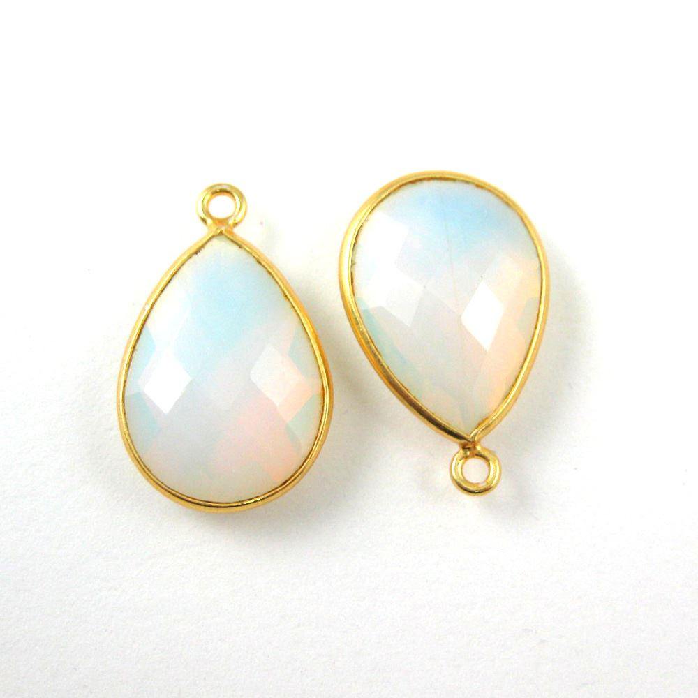Bezel Gemstone Pendant - 22K Gold Plated Vermeil- 18mm Faceted Pear Shape-Bezel Gemstone-Bezel Charm -Opalite Quartz- October Birthstone (Sold per 2 pieces)