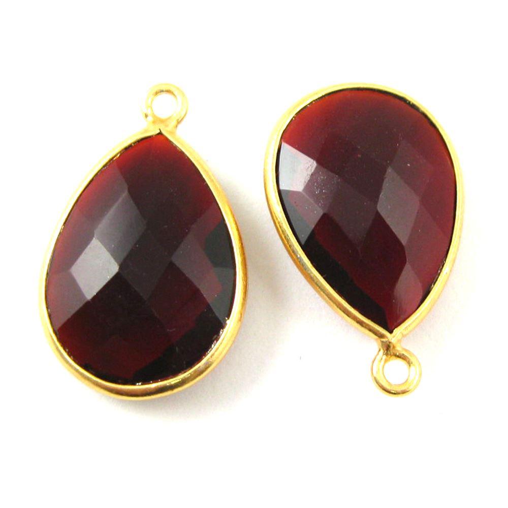 Bezel Gemstone Pendant - 22K Gold Plated Vermeil- 18mm Faceted Pear Shape-Bezel Gemstone-Bezel Charm -Garnet Quartz- January Birthstone (Sold per 2 pieces)