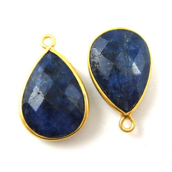 Bezel Gemstone Pendant - 22K Gold Plated Vermeil- 18mm Faceted Pear Shape-Bezel Gemstone-Bezel Charm -Blue Sapphire Dyed- September Birthstone (Sold per 2 pieces)