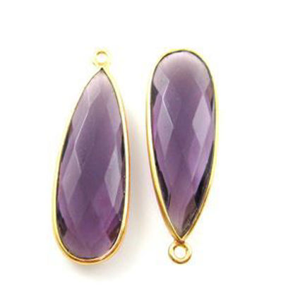 Bezel Charm Pendant-Vermeil Charm-Gold Plated -Amethyst Quartz-Elongated Teardrop-34 by11mm (Sold per 2 pieces)