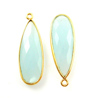 Bezel Charm Pendant-Vermeil Charm-Gold Plated -Aqua Chalcedony -Elongated Teardrop-34 by11mm (Sold per 2 pieces)