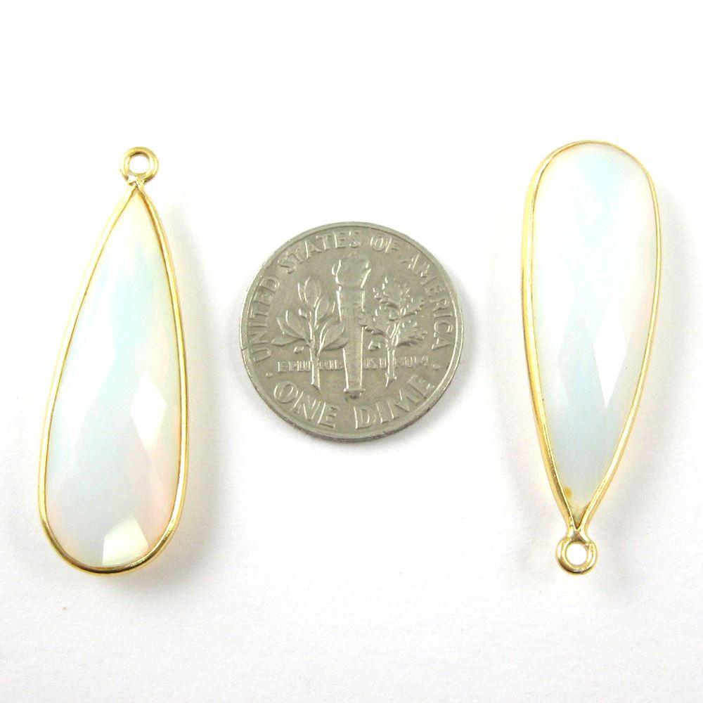Bezel Charm Pendant -22K Gold Plated Vermeil Charm-Gold Plated - Elongated Teardrop - Bezel Gemstone - Opalite Quartz- October Birthstone-- 34 by11mm (Sold per 2 pieces)