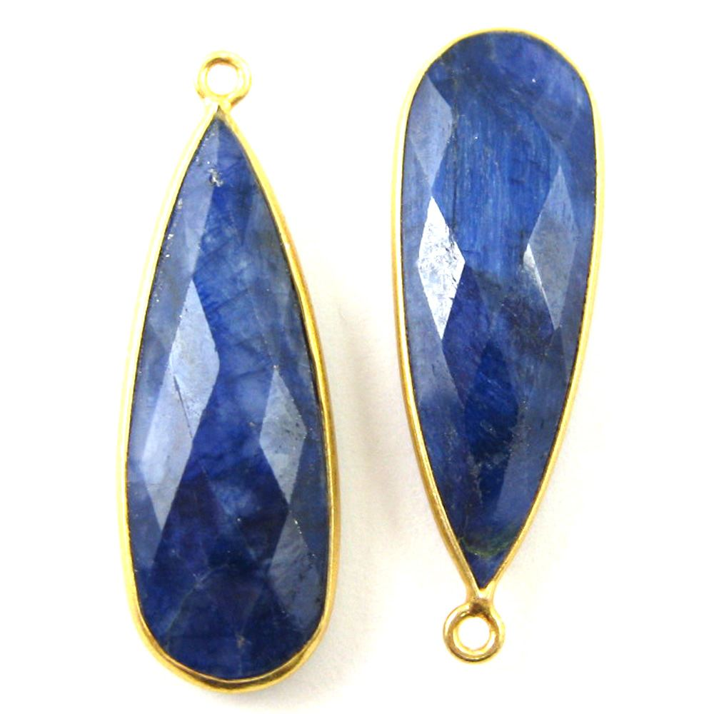 Bezel Charm Pendant -22K Gold Plated Vermeil Charm-Gold Plated - Elongated Teardrop - Bezel Gemstone -Blue Sapphire Dyed-September Birthstone-- 34 by11mm (Sold per 2 pieces)