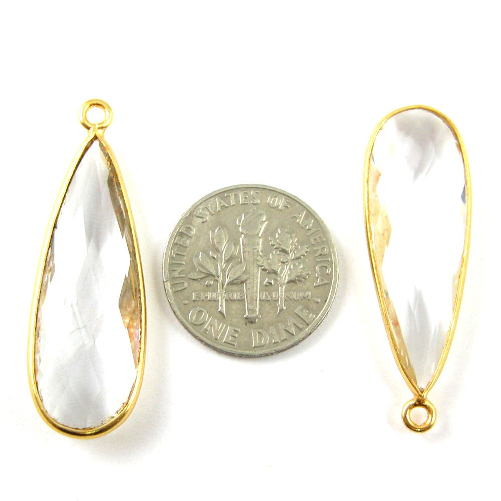Bezel Charm Pendant -22K Gold Plated Vermeil Charm-Gold Plated - Elongated Teardrop - Bezel Gemstone -Crystal Quartz-April Birthstone-- 34 by11mm (Sold per 2 pieces)
