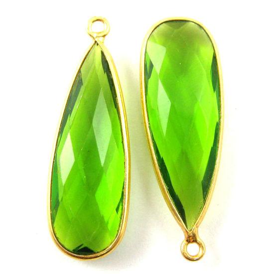 Bezel Charm Pendant -22K Gold Plated Vermeil Charm-Gold Plated - Elongated Teardrop - Bezel Gemstone -Peridot Quartz- August Birthstone-- 34 by11mm (Sold per 2 pieces)