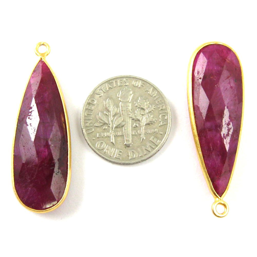 Bezel Charm Pendant -22K Gold Plated Vermeil Charm-Gold Plated - Elongated Teardrop - Bezel Gemstone -Ruby Dyed-July Birthstone-- 34 by11mm (Sold per 2 pieces)