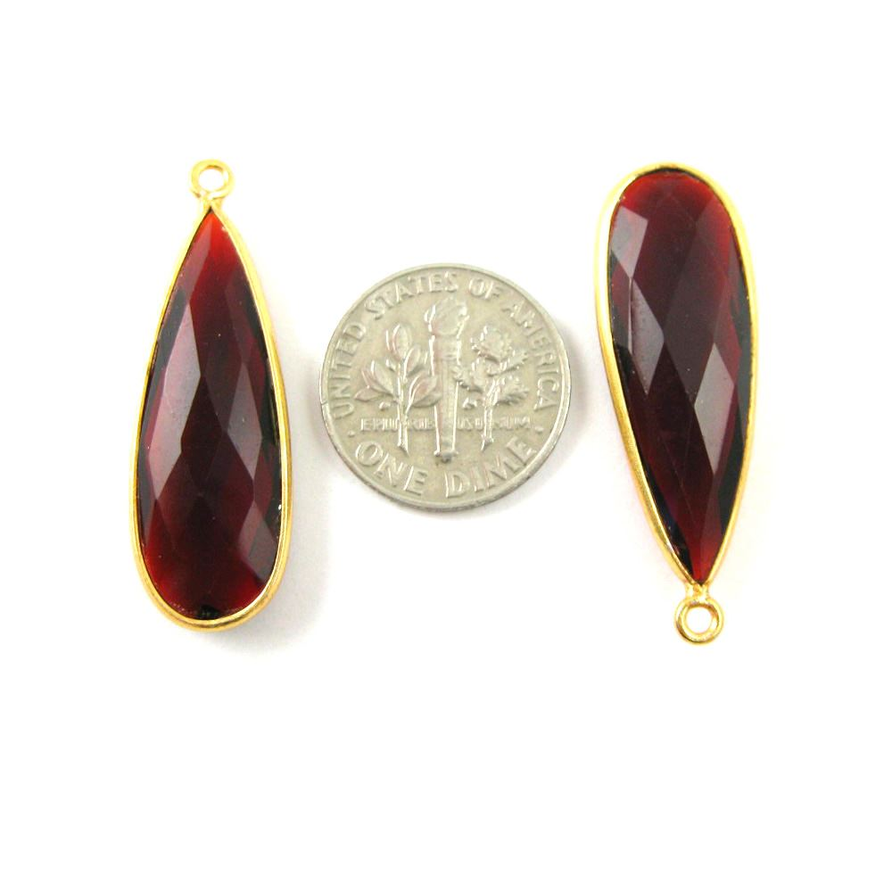 Bezel Charm Pendant -22K Gold Plated Vermeil Charm-Gold Plated - Elongated Teardrop- Garnet Quartz- Bezel Gemstone - January Birthstone-- 34 by11mm (Sold per 2 pieces)