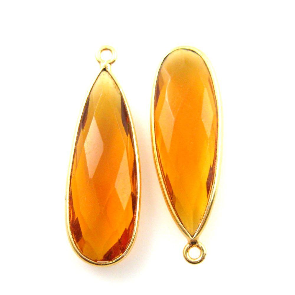Bezel Charm Pendant -Vermeil Charm-Gold Plated -Citrine Quartz-Elongated Teardrop-34 by11mm (Sold per 2 pieces)