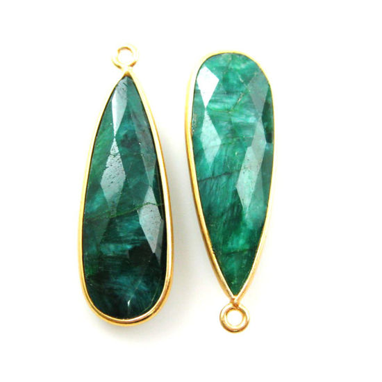 Bezel Charm Pendant -Vermeil Charm-Gold Plated -Emerald Dyed-Elongated Teardrop-34 by11mm (Sold per 2 pieces)