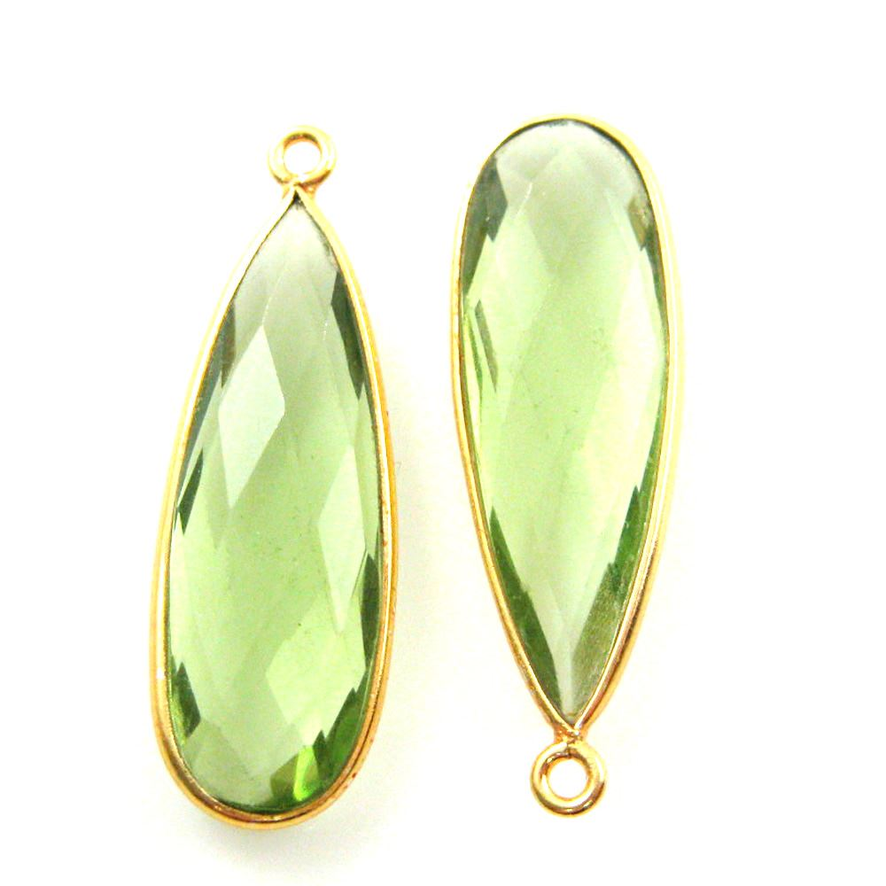 Bezel Charm Pendant -Vermeil Charm-Gold Plated -Green Amethyst Quartz-Elongated Teardrop-34 by11mm (Sold per 2 pieces)