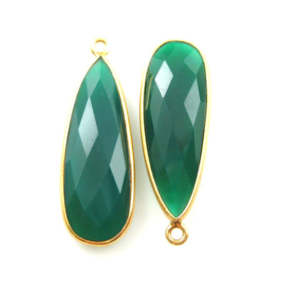 Bezel Charm Pendant -Vermeil Charm-Gold Plated -Green Onyx -Elongated Teardrop-34 by 11mm (Sold per 2 pieces)