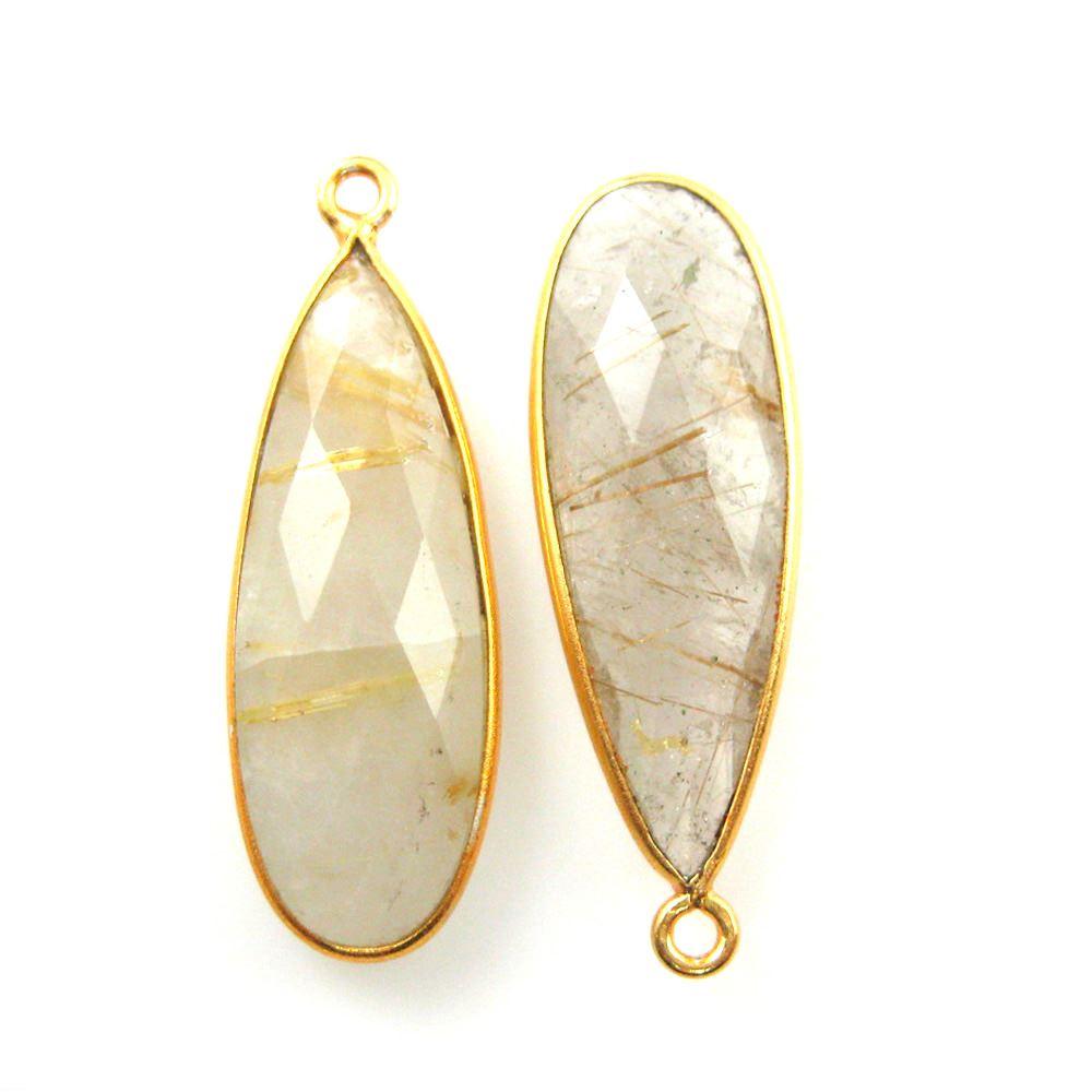 Bezel Charm Pendant -Vermeil Charm-Gold Plated -Gold Rutilated Quartz-Elongated Teardrop-34 by11mm (Sold per 2 pieces)