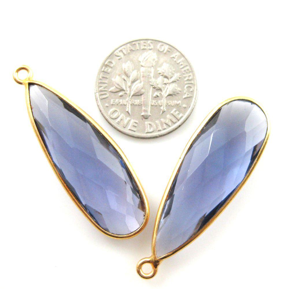 Bezel Charm Pendant -Vermeil Charm-Gold Plated -Iolite Quartz-Elongated Teardrop-34 by 11mm (Sold per 2 pieces)