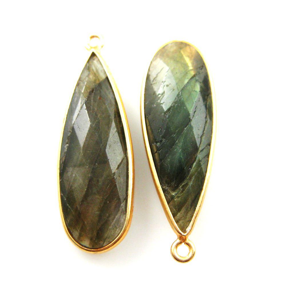 Bezel Charm Pendant -Vermeil Charm-Gold Plated -Labradorite -Elongated Teardrop-34 by 11mm (Sold per 2 pieces)