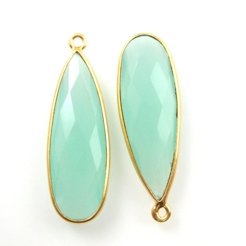 Bezel Charm Pendant -Vermeil Charm-Gold Plated-Peru Chalcedony-Elongated Teardrop-34 by 11mm  (Sold per 2 pieces)