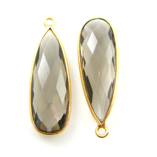 Bezel Charm Pendant -Vermeil Charm-Gold Plated-Smokey Quartz-Elongated Teardrop Shape -34 by 11mm (Sold per 2 pieces)