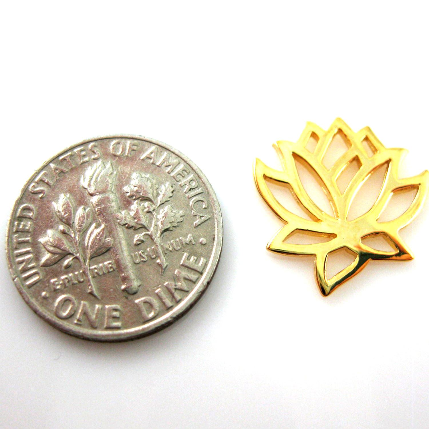 22k Gold plated over Sterling Silver Lotus Flower-Lotus Flower Connector ( 2 pcs)