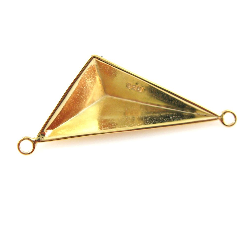 Triangle Connector - 22k Gold plated over Sterling Silver Charm Pyramid-  Geometric Charm-Triangle Pendant - 35 by12mm