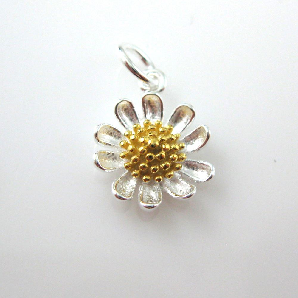 Sunflower Charm - Sterling Silver Sunflower Charm- Two-Tone Charm-Flower Pendant