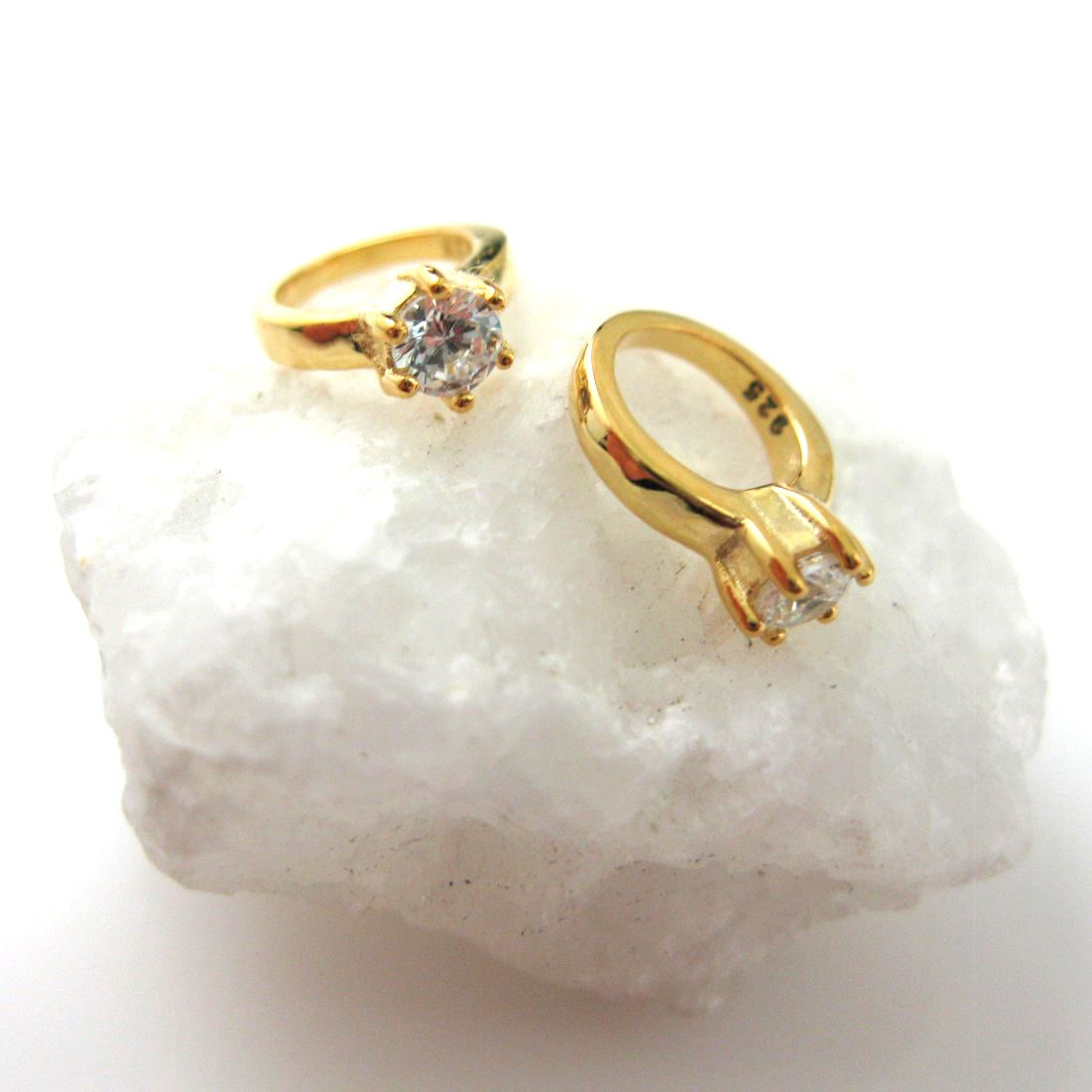 Gold plated over Sterling Silver Charms - Promise Ring Charm - Vermeil Ring (2 pcs)