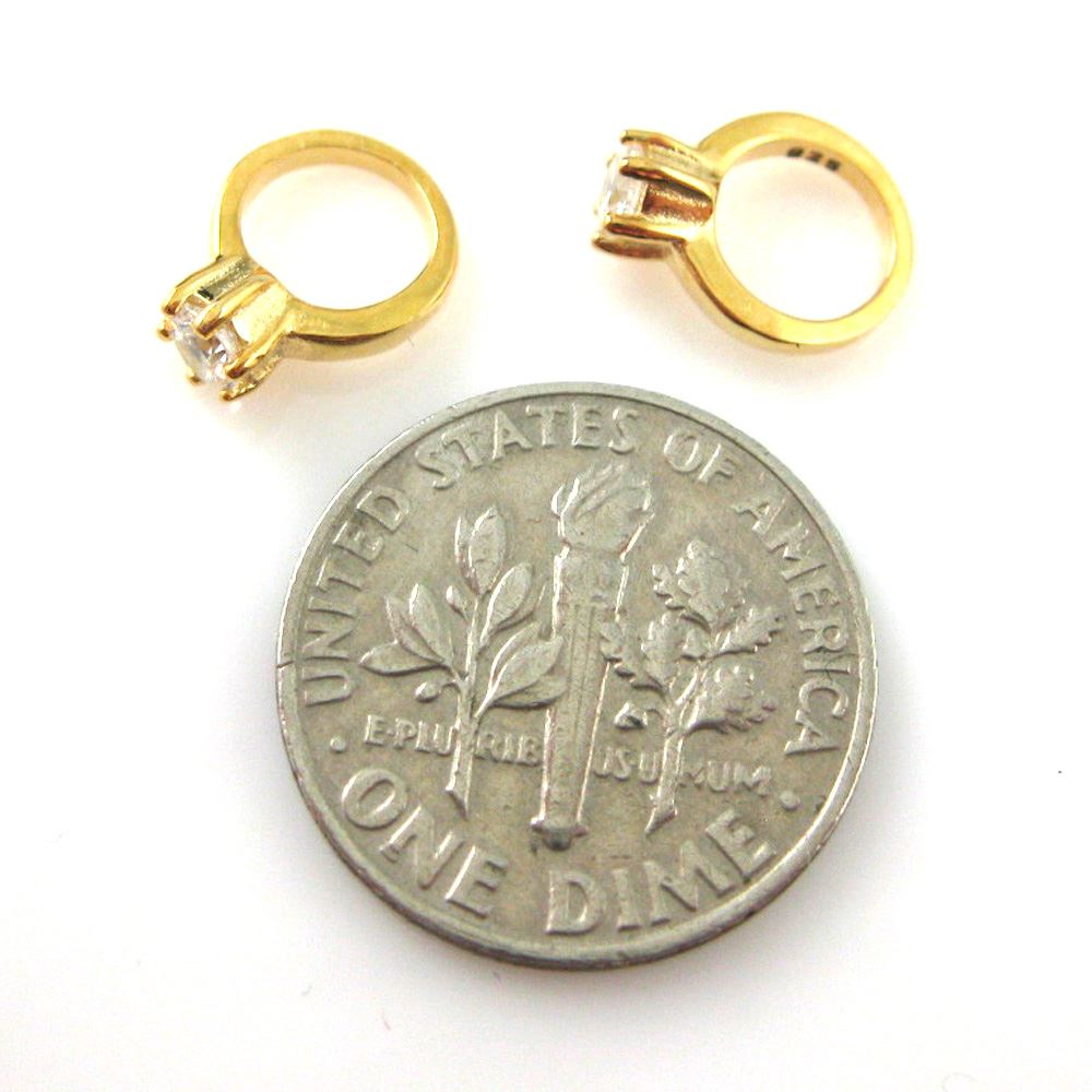 Promise Ring Charm-Vermeil Ring Gold plated over Sterling Silver Charms 2 pcs
