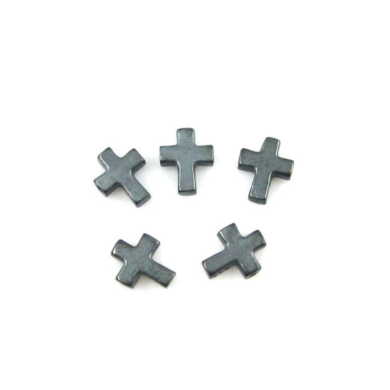 Oxidized Sterling Silver Tiny Cross Charm Connector, 7mm ( Sold per 5 pieces)