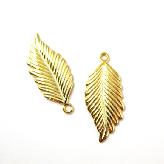 22K Gold Plated over Sterling Silver Vermeil Feather Charm 22mm (sold per 2 pieces)