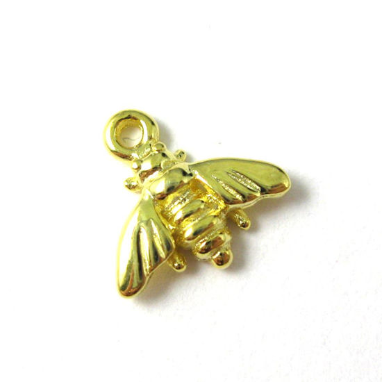 18K Gold plated 925 Sterling Silver Charm - Tiny Bumblebee Pendant - Findings (9mm)