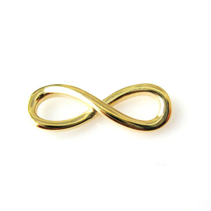 18K gold plated over  925 Sterling Silver Charm - Smooth Infinity Charm Pendant - 15mm ( 1 pc)