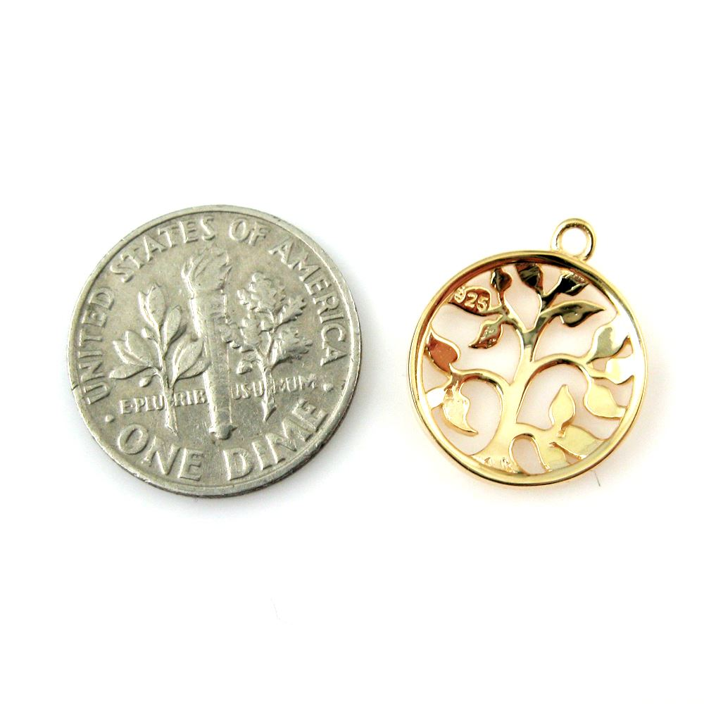 22K gold plated over 925 Sterling Silver Charm -Tree Charm with Leaves Pendant - 14mm