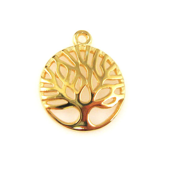 Gold plated over 925 Sterling Silver Charm-Jewelry Findings-Tree of Life Charm Pendant-12mm