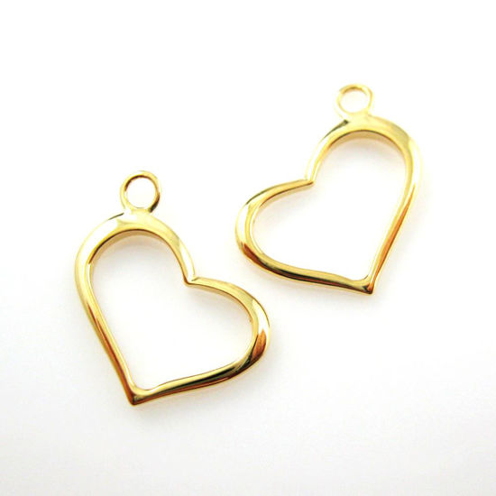 22k Gold plated over Sterling Silver Heart Charm-Classic Heart charm -14.5 by 16 mm (2 pcs)