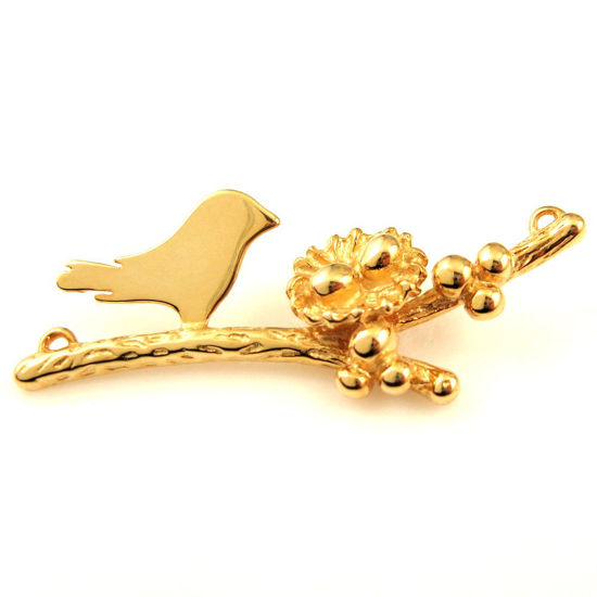 22K Gold plated 925 Sterling Silver, Mother and Baby Bird Branch and Nest Connector - 2 Eggs - 48mm